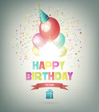 birthday party: Happy Birthday Background With Balls, Gift And Title Inscription Illustration