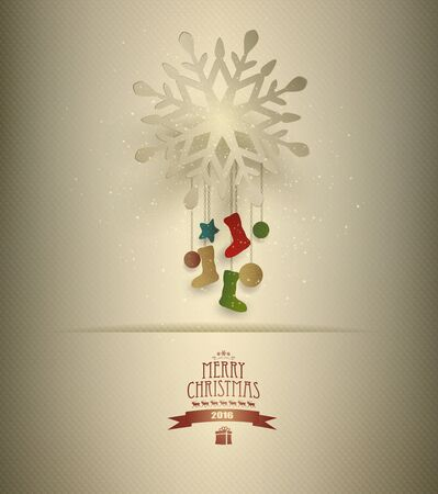 Christmas Background With Snowflake, Decorations And Title Inscription Vector