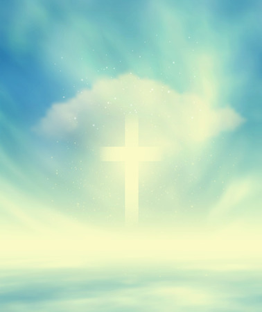 people in church: Skyscape And Christian Glowing Cross