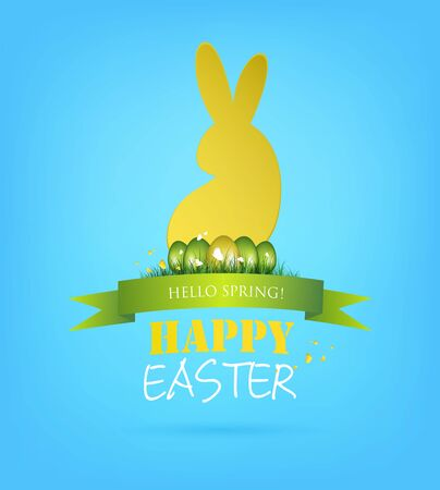 Easter Background With Bunny, Egg And Title Inscription Vector