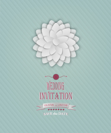 Wedding Invitation With Flower, Heart And Title Inscription Vector