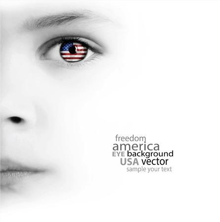美子の顔、目、アメリカの国旗の白地