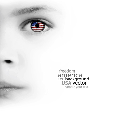 White Background With Beauty Childs Face, Eye And American Flag Vector