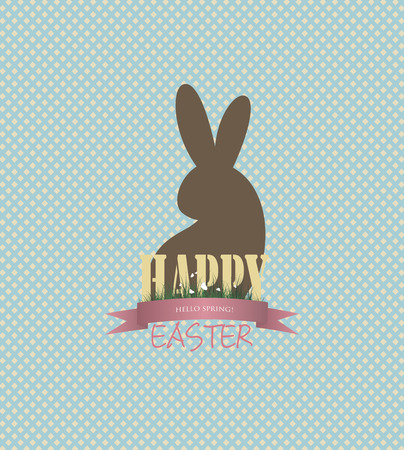 Easter Background With Bunny And Title Inscription Vector