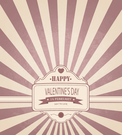Vintage Valentines Day Background With Title Inscription Vector