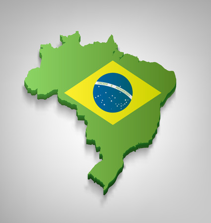 brazilian: Dimensional Brazilian Map With Flag On A Gray Background Illustration