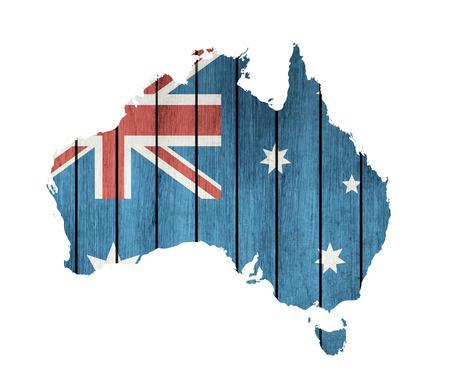 melbourne: Australian Map With Wooden Flag On A White Background Illustration