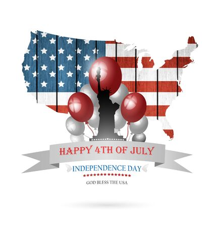 liberty: Happy Fourth Of July Background With Balls Statue Of Liberty And Title Inscription