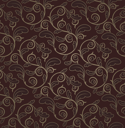 architectural styles: Vintage Dark Red And Gold Seamless Floral Pattern With Clipping Mask Illustration