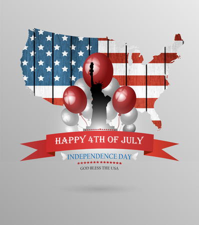 july 4th: Happy Fourth Of July Background With Balls Statue Of Liberty And Title Inscription