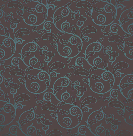 clipping mask: Vintage Brown And Blue Seamless Floral Pattern With Clipping Mask