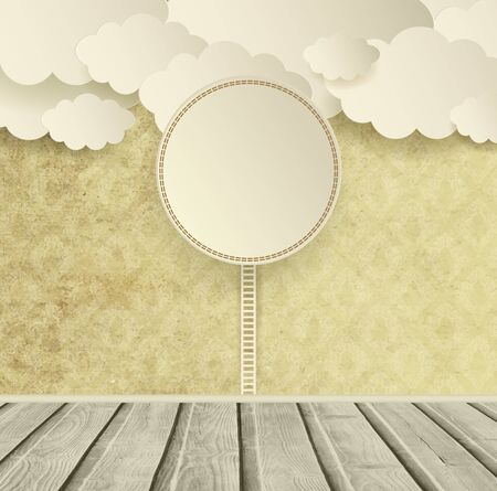wooden mask: Vintage Ornate Background With Clouds Wooden Floor And Plate