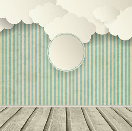 site backgrounds: Vintage Striped Background With Clouds Wooden Floor And Plate