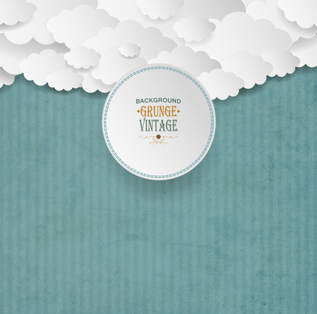 Vintage Striped Background With Clouds And Plate
