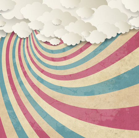 Vintage Background With Clouds Vectores