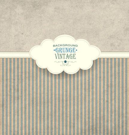 inscription: Vintage Frame With Cloud Grunge Striped Background And Title Inscription Illustration