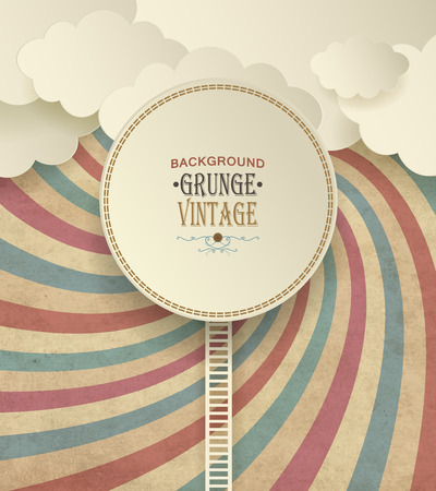 Vintage Background With Clouds And Colorful Striped Radiate Pattern
