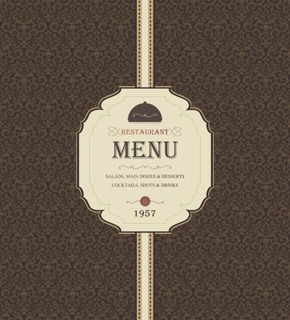 title: Vintage Restaurant Menu With Ornate Background And Title Inscription