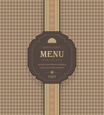 design frame: Vintage Restaurant Menu With Chequered Background And Title Inscription
