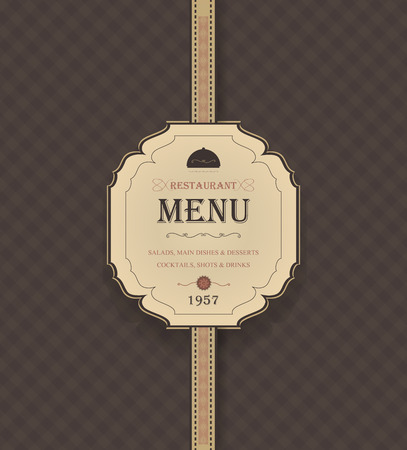 chequered ribbon: Vintage Restaurant Menu With Chequered Background And Title Inscription