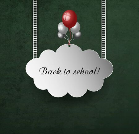 back view student: Background With School Blackboard, Cloud, Tairs, Holiday Balls And Text Illustration