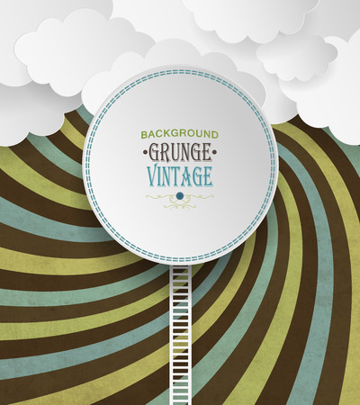 radiate: Vintage Background With Clouds And Colorful Striped Radiate Pattern