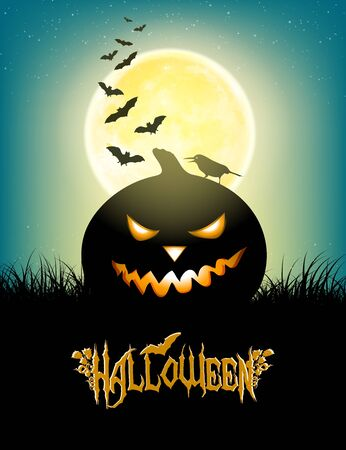 crow: Halloween Background With Moon, Grass, Bats, Angry Pumpkin, Crow And Title Inscription