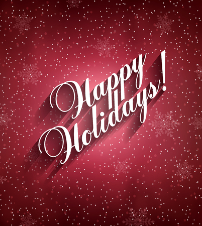 Happy Holidays Background With Snow, Snowflakes And Title Inscription With Shadow