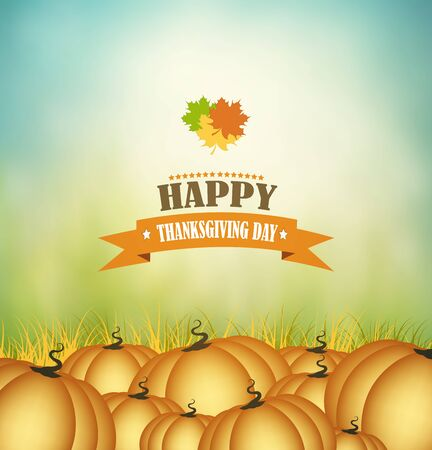 happy: Thanksgiving Day Background With Pumpkins And Title Inscription Illustration