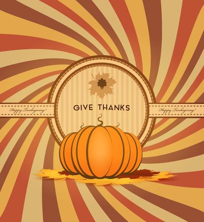 thanksgiving day symbol: Giorno del Ringraziamento Background Con Pumpinks, Maple Leafs e titolo Iscrizione