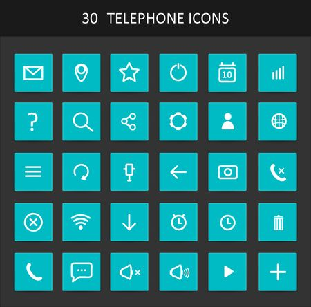 telephone icons: Set Of Flat Design Telephone Buttons And Icons