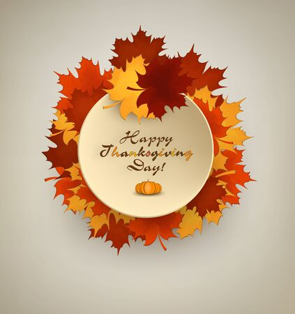 maples: Thanksgiving Day Background With Maple Leafs, Plate And Title Inscription