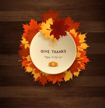 thanksgiving day symbol: Giorno del Ringraziamento fondo in legno con Maple Leafs, piatto e Titolo Iscrizione