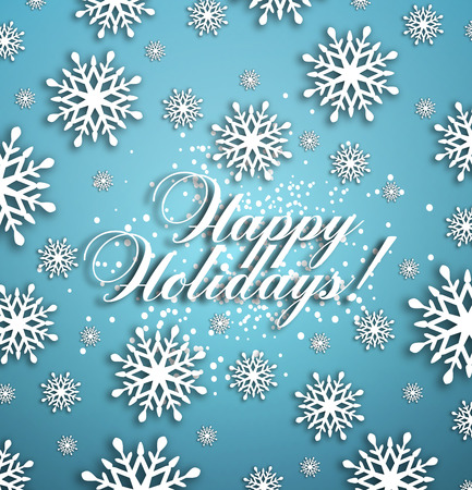 happy holidays: Happy Holidays Background With Snow, Snowflakes And Title Inscription With Shadow