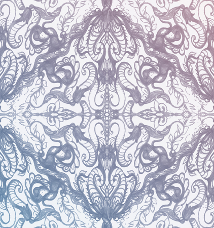 clipping mask: Vintage Pink And Blue Pattern Ornament With Clipping Mask