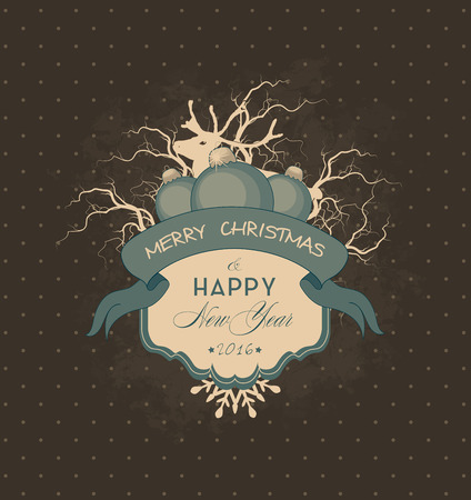 frame vintage: Holiday Vintage Greeting Card With Snow, Frame And Christmas And New Year Greetings Stock Photo