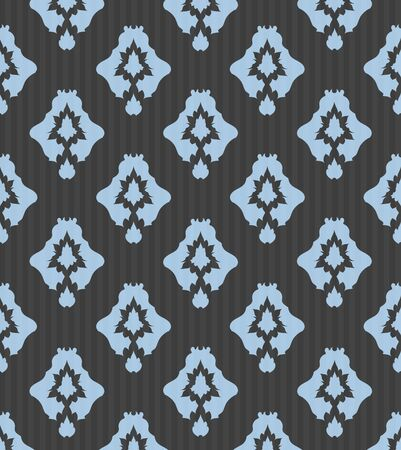 clipping mask: Vintage Gray And Blue Seamless Floral Pattern Ornament With Clipping Mask