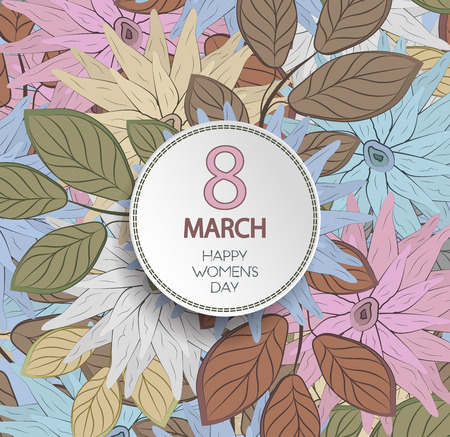 Happy Womens Day Background With Plate On A Floral Seamless Colored Pattern Ornament Illustration