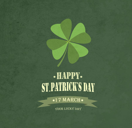 title: Vintage Saint Patricks Day Background  With Clover And Title Inscription