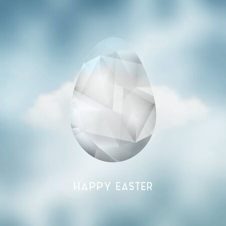 decor graphic: Easter Abstract Crystal Egg And Cloud On The Sky Illustration