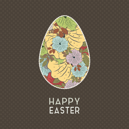 easter flowers: Easter Grunge Background With Flowers And Egg