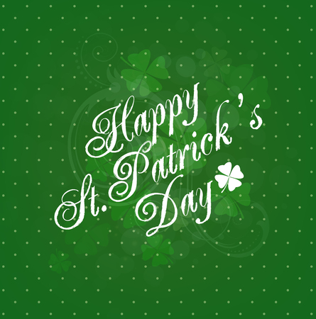 title: Saint Patricks Day Background With Clovers And Title Inscription