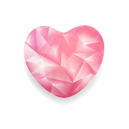 twinkle: Abstract Crystal Heart With Twinkle On A White Background