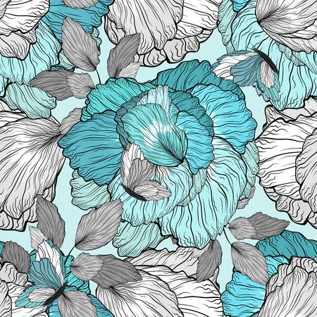 azul turqueza: Modelo floral inconsútil del fondo del ornamento de belleza con flores y mariposas Foto de archivo