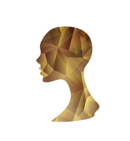 Crystal Abstract Womans Silhouette On A White Background Illustration