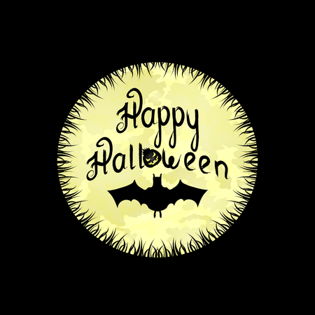 Halloween Background With Moon, Wishes And Bat On A Black Background Illustration