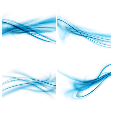 Set Of Abstract BLue And White Modern Background
