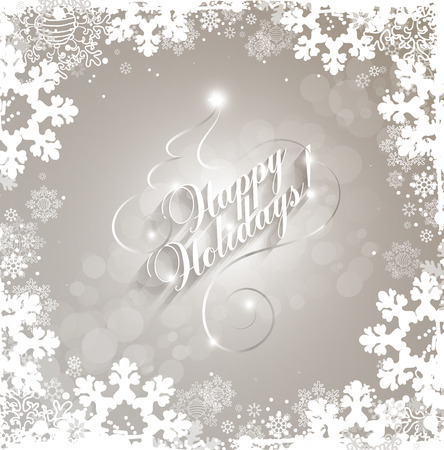 overlay: Winter Holiday Christmas And New Year Background With Title Inscription And Snowflakes