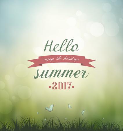 summer nature: Summer Nature Background Grass, Butterflies And Title Inscription Illustration
