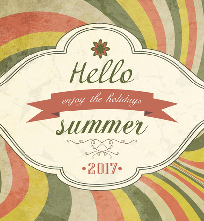 Vintage Grunge Summer Striped Colorful Background With Text Illustration